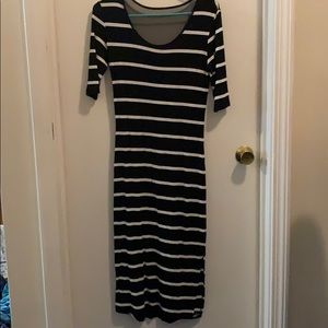 Black and white mid calf dress